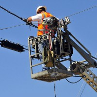 an electric company worker